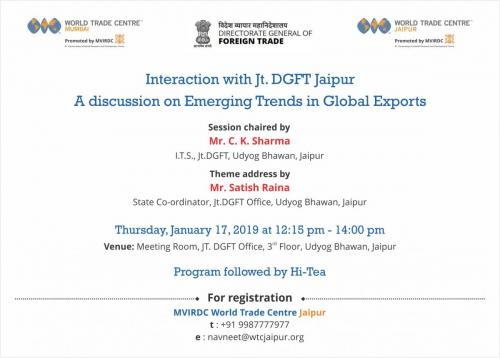 17 Jan 2019 - WTC Jaipur organizes interactive session with Dy. DGFT Jaipur